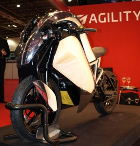 Agility Saietta Electric bike at the MCN bike show
