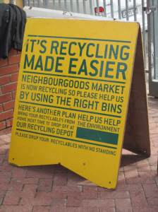 Recycling notice board