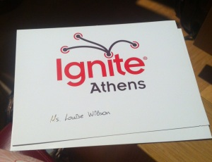 Ignite Athens place card